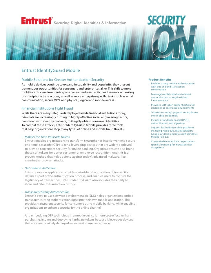 Entrust IdentityGuard MobileMobile Solutions for Greater Authentication Security                                  Product ...