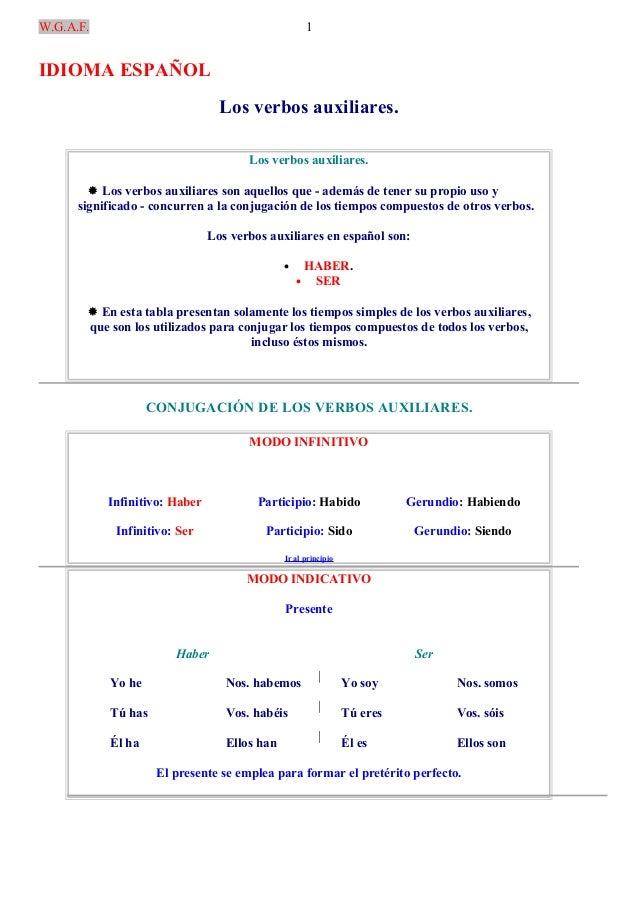 W.G.A.F.IDIOMA ESPAÑOLLos verbos auxiliares.Los verbos auxiliares. Los verbos auxiliares son aquellos que - además de ten...