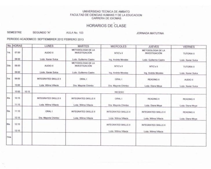 Horarios Carrera de Idiomas UTA-FCHE
