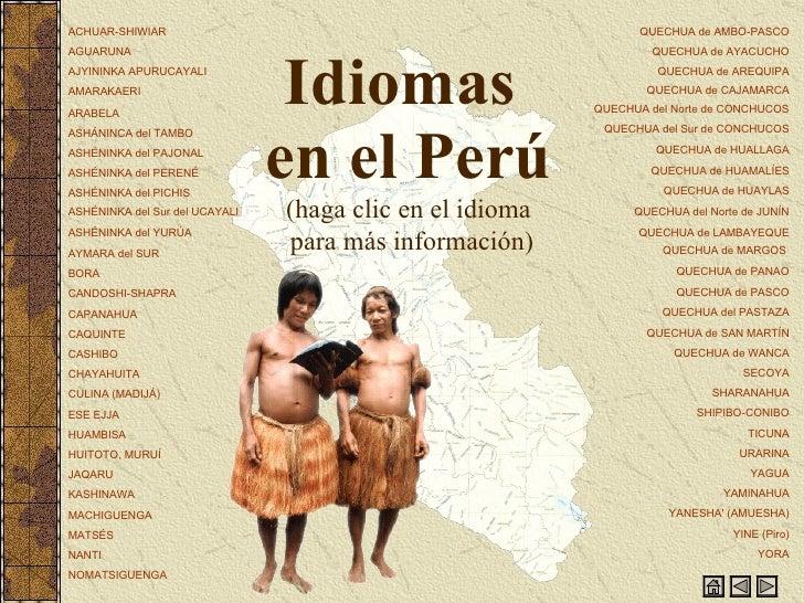 Idiomas  en el Perú (haga clic en el idioma  para más información)