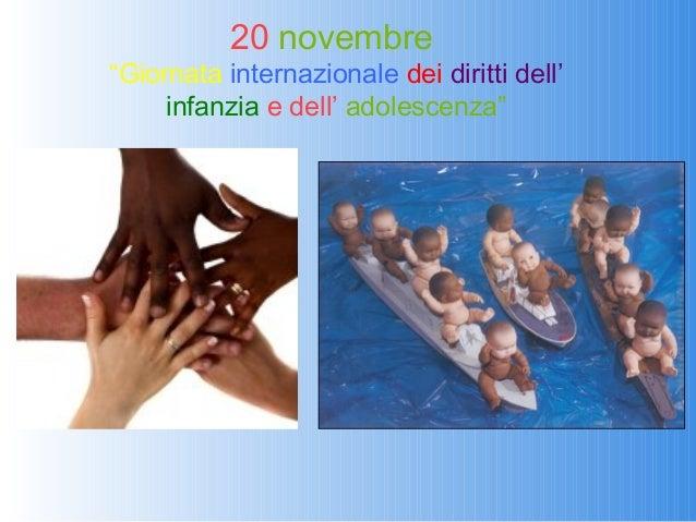 """20 novembre""""Giornata internazionale dei diritti dell'     infanzia e dell' adolescenza"""""""