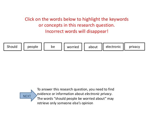 Click on the words below to highlight the keywords or concepts in this research question. Incorrect words will disappear! ...