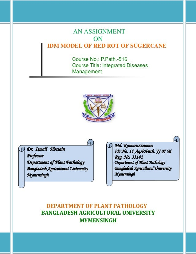 AN ASSIGNMENT                              ON           IDM MODEL OF RED ROT OF SUGERCANE                         Course N...