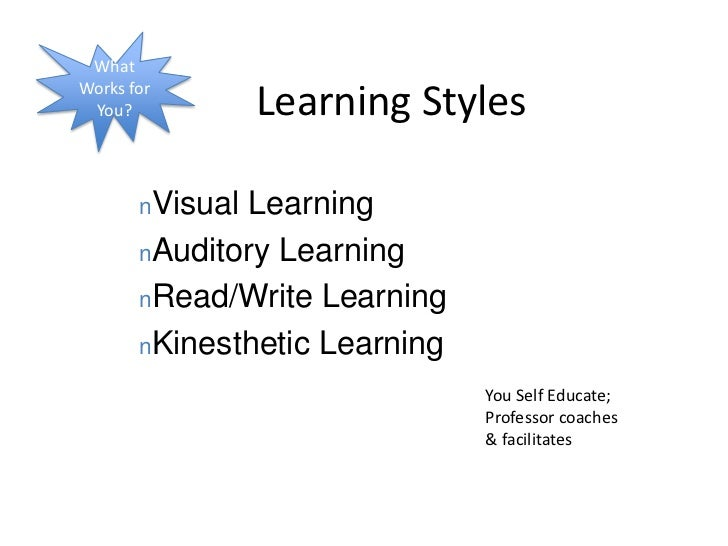 What Works for You?<br />Learning Styles<br /><ul><li>Visual Learning