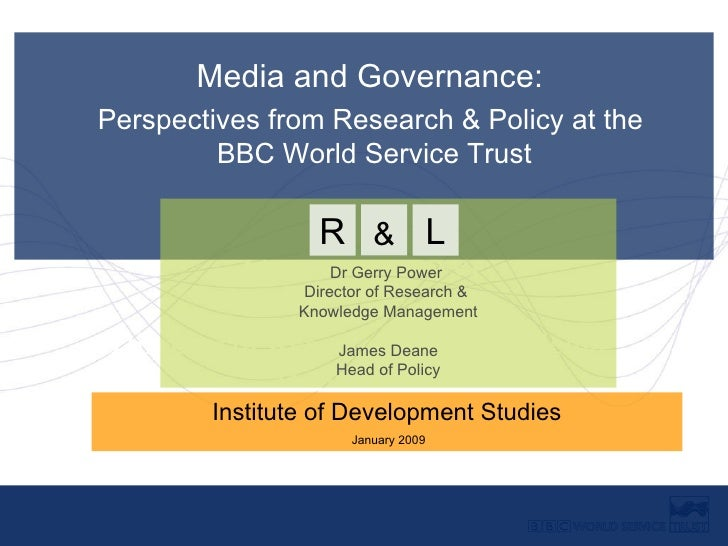 Dr Gerry Power Director of Research and Knowledge Management Media and Governance:  Perspectives from Research & Policy at...