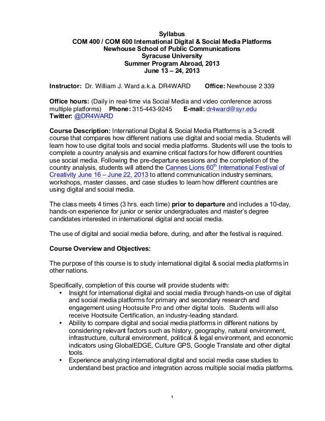 Newhouse International Digital And Social Media Study Abroad Syllabus 2013