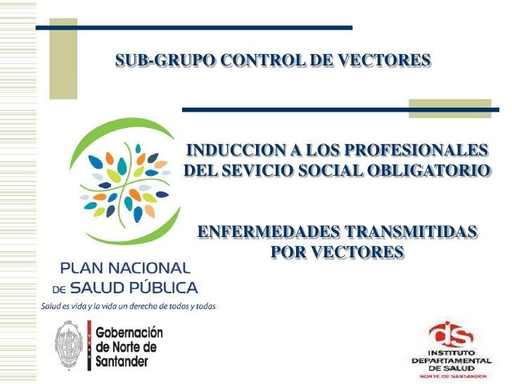 SUB-GRUPO CONTROL DE VECTORES<br />INDUCCION A LOS PROFESIONALES DEL SEVICIO SOCIAL OBLIGATORIO<br />ENFERMEDADES TRANSMIT...