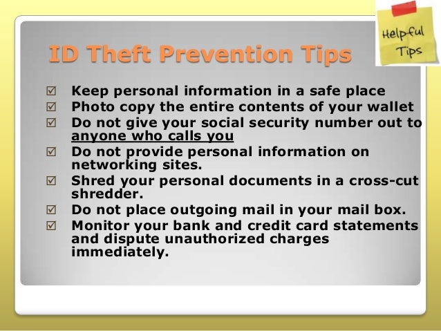id Theft Prevention Tips