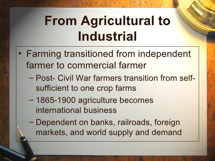 1865 1900 industrialization By 1900, one in every five  american industrialization - between 1865 and 1920, industrialization caused significant changes in many people's lives first,.