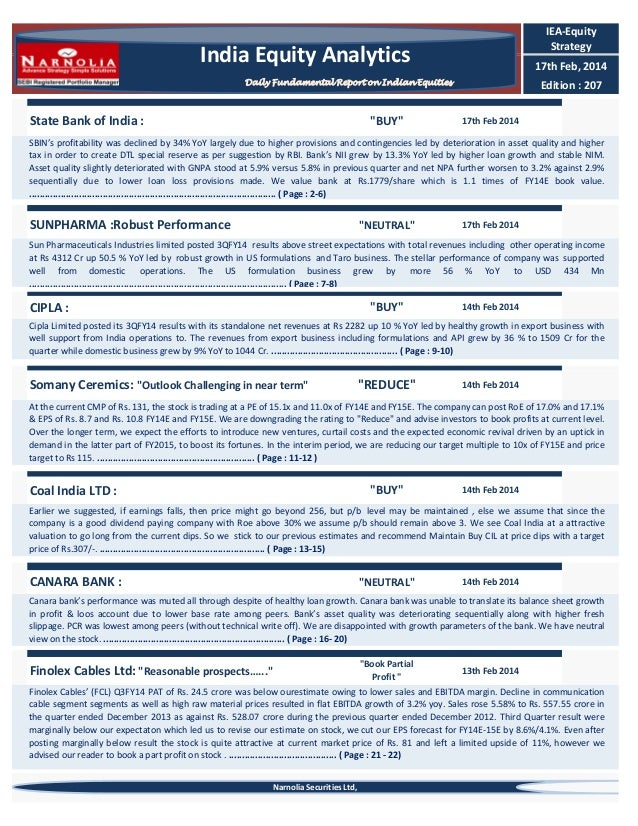 IEA-Equity Strategy  India Equity Analytics  17th Feb, 2014  Daily Fundamental Report on Indian Equities  State Bank of In...