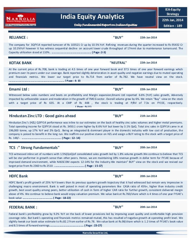 """IEA-Equity Strategy  India Equity Analytics  22th Jan, 2014  Daliy Fundamental Report on Indian Equities  RELIANCE :  """"BUY..."""