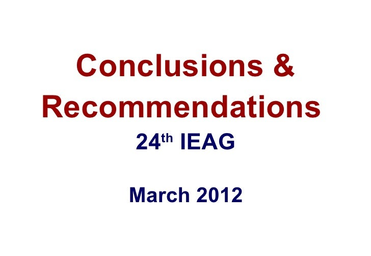 Ieag conclusions and recommendations