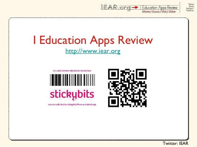 Twitter: IEAR I Education Apps Review http://www.iear.org