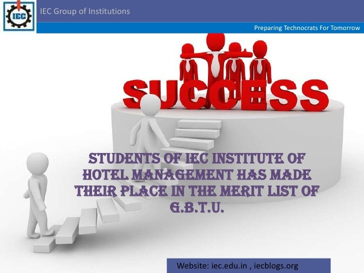 Students of IEC Institute of Hotel Management has made their place in the Merit List of G.B.T.U.