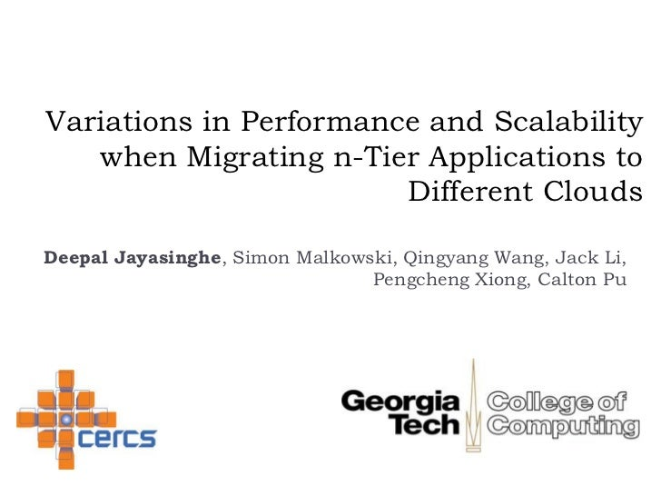 Variations in Performance and Scalability when Migrating n-Tier Applications to Different Clouds