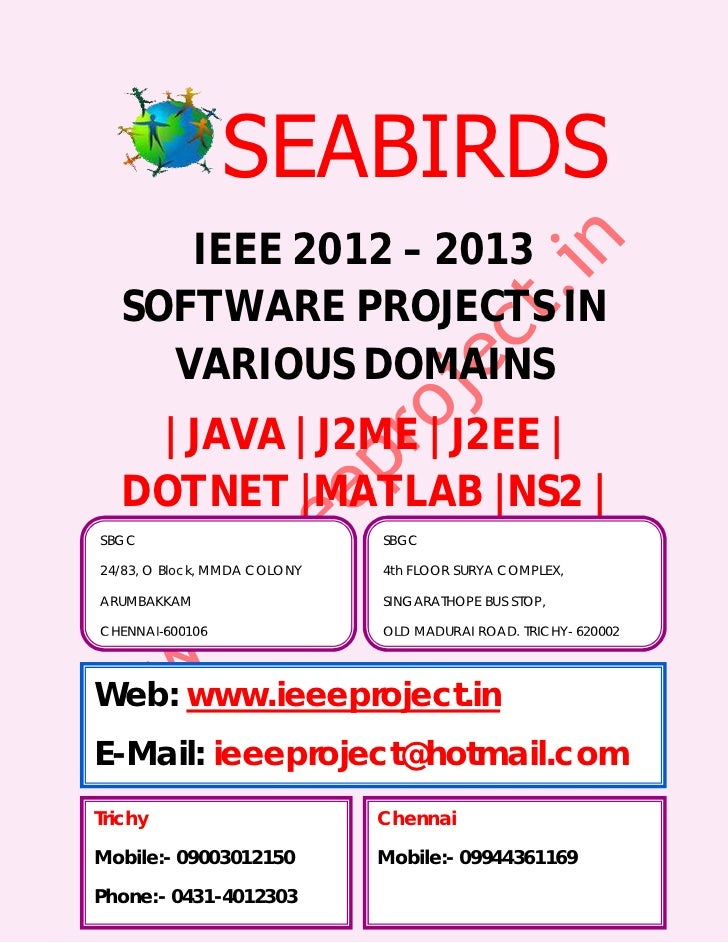 IEEE Projects 2012 For Me Cse @ Seabirds ( Trichy, Chennai, Thanjavur, Pudukkottai, Perambalur )