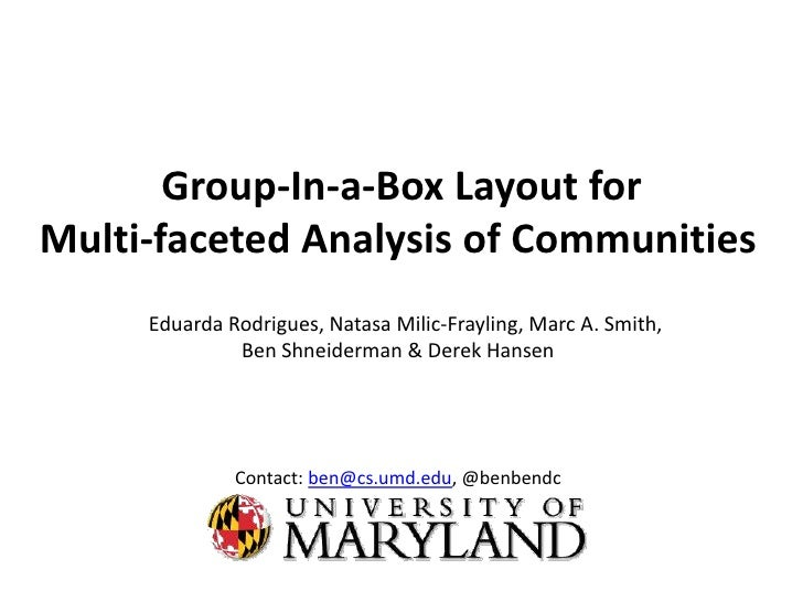 Group-In-a-Box Layout for Multi-faceted Analysis of Communities