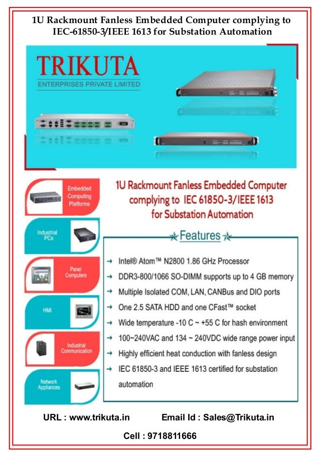 1U Rackmount Fanless Embedded Computer complying to IEC 61850-3/IEEE 1613 for Substation Automation