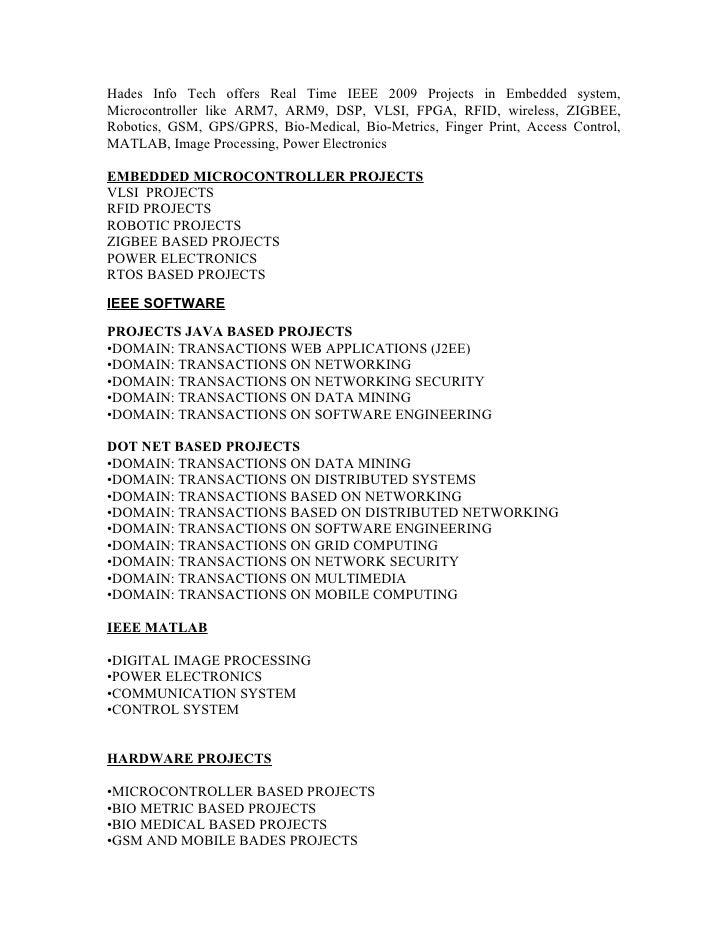 Ieee 2009 Projects @ Hades Info Tech