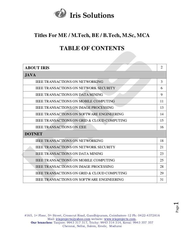 Iris Solutions      Titles For ME / M.Tech, BE / B.Tech, M.Sc, MCA                      TABLE OF CONTENTSABOUT IRIS       ...