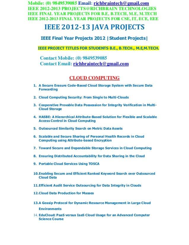 Ieee 2012 2013 btech java projects richbraintech
