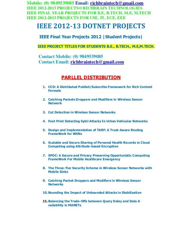 Ieee 2012 2013 final year btech mtech dotnet projects