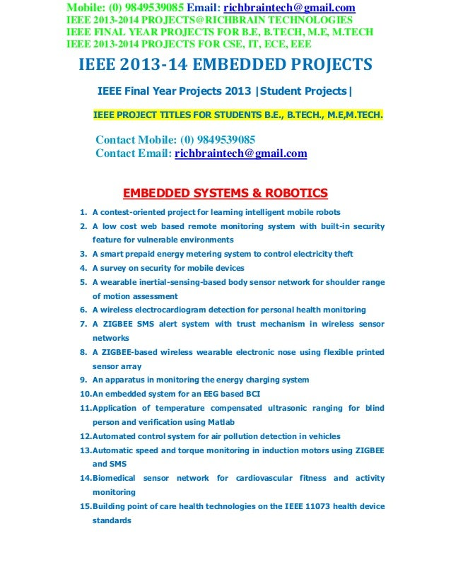 Ieee 2013 2014 embedded project titles richbraintechnologies