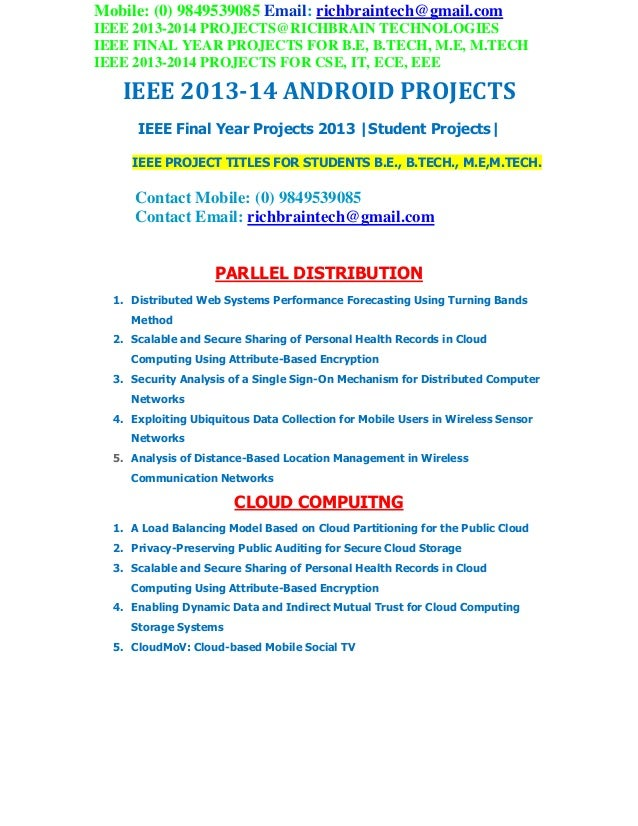 Ieee 2013 2014  final year be me android projects richbraintech