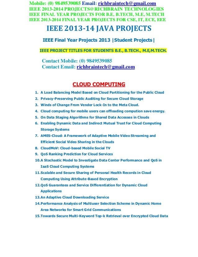 Ieee 2013 2014 java project titles richbraintechnologies