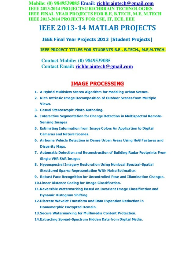 Ieee 2013 2014 matlab project titles richbraintechnologies