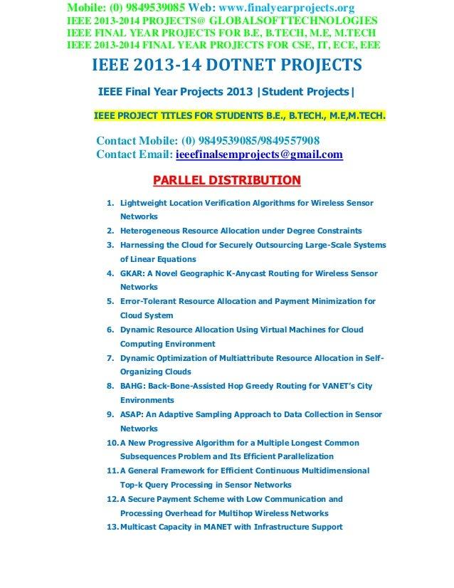 Ieee 2013 dotnet projects globalsoft technologies