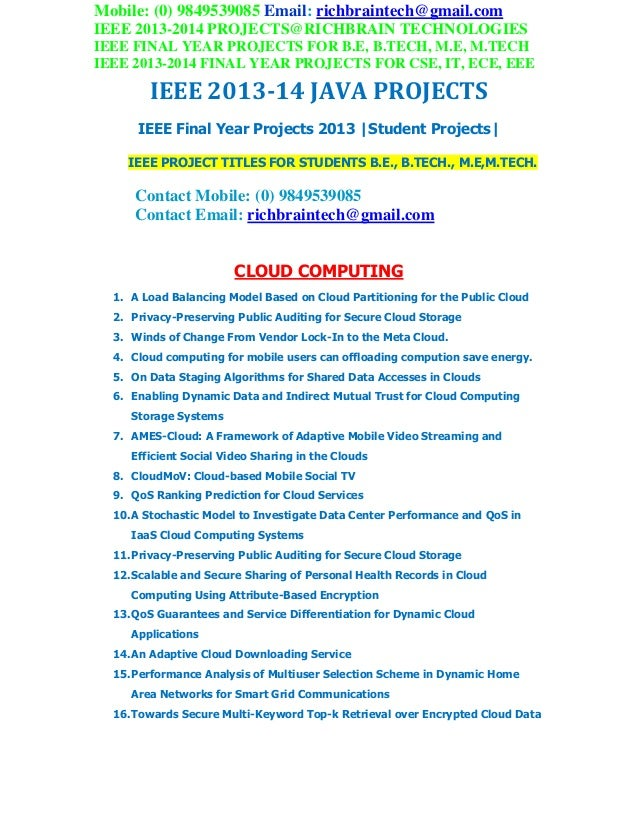 Ieee 2013 java project titles richbrainprojects