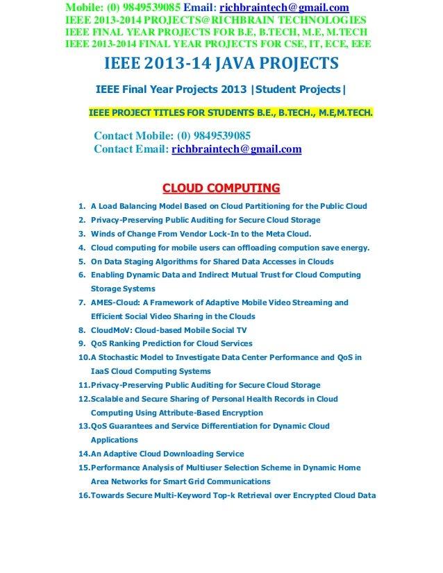 Ieee 2013 java project titles richbraintech
