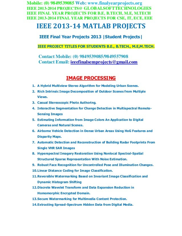 Ieee 2013 matlab projects globalsoft technologies