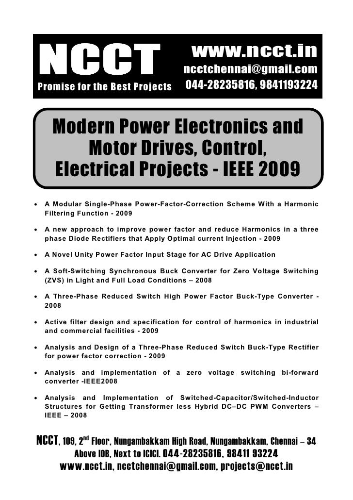 Ieee Electrical Ieee Project Titles, 2009   2010 Ncct Final Year Projects