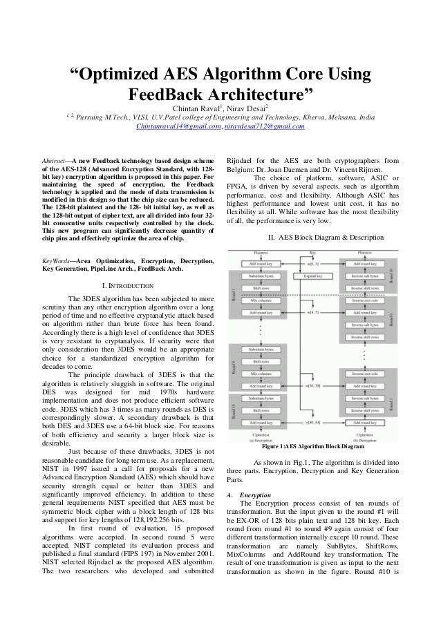 """Optimized AES Algorithm Core Using FeedBack Architecture"" Chintan Raval1, Nirav Desai2 1, 2,  Pursuing M.Tech., VLSI, U.V..."