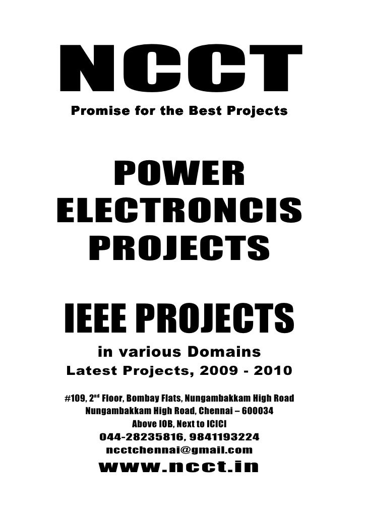 Ieee Power Electronics Ieee Project Titles, 2009   2010 Ncct Final Year Projects
