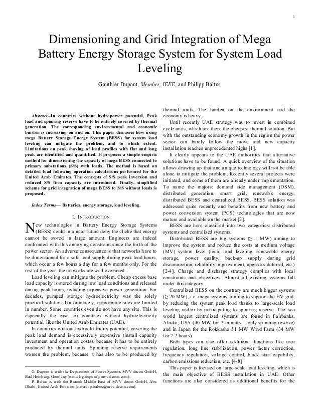 1       Dimensioning and Grid Integration of Mega      Battery Energy Storage System for System Load                      ...