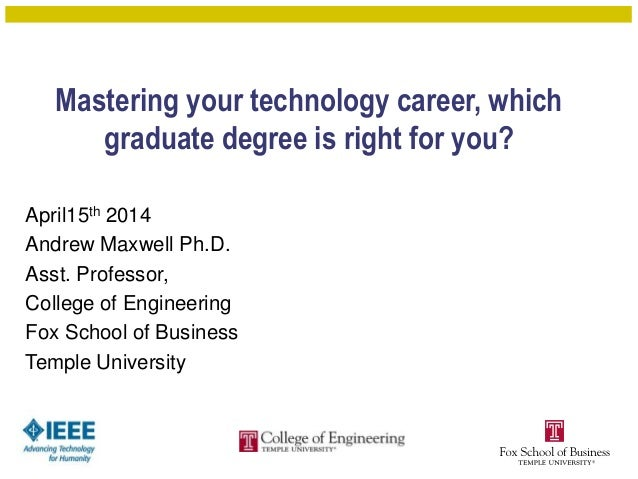 Mastering your technology career, which graduate degree is right for you? April15th 2014 Andrew Maxwell Ph.D. Asst. Profes...