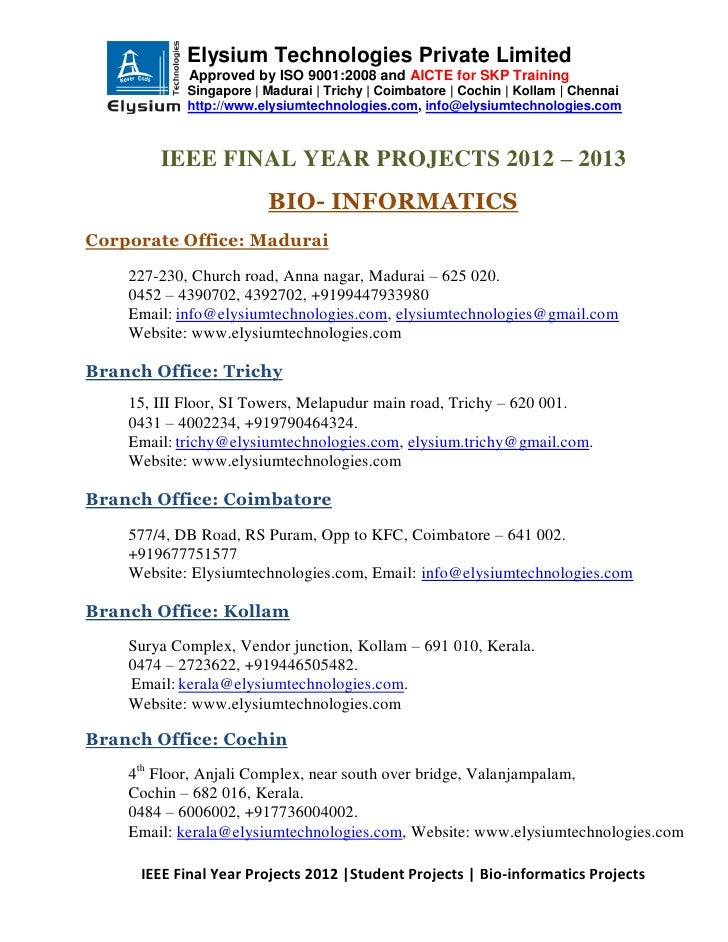 Ieee projects 2012 2013 - Bio Informatics