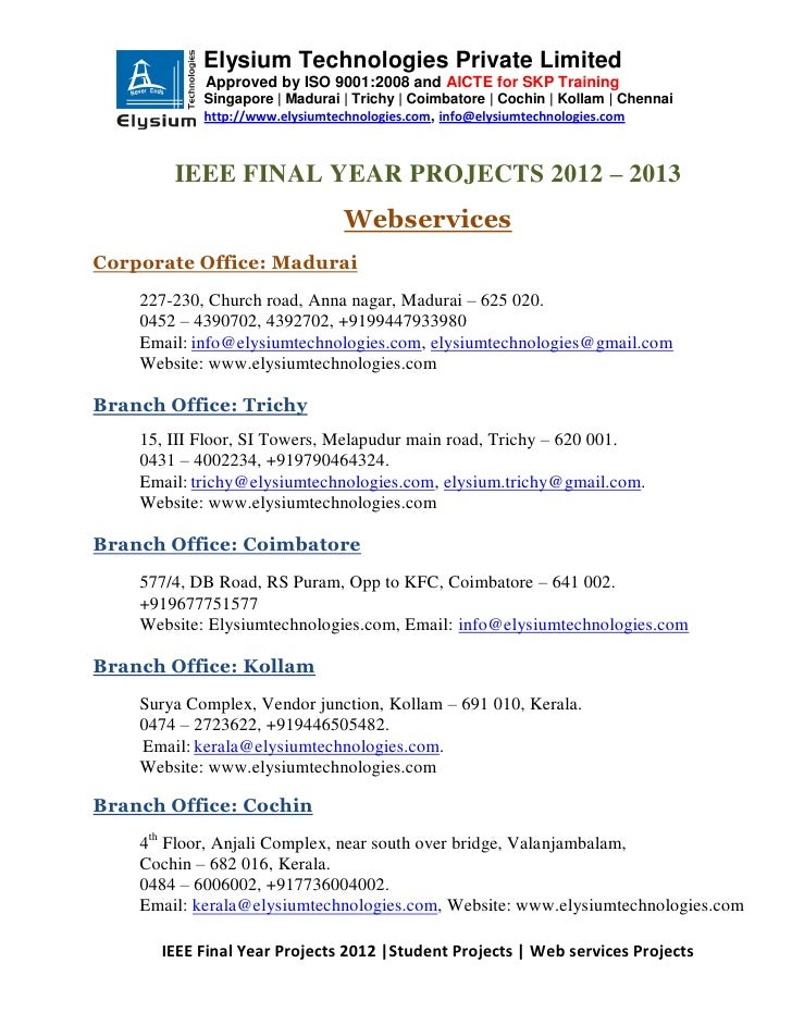 Ieee projects 2012 2013 - Web Services