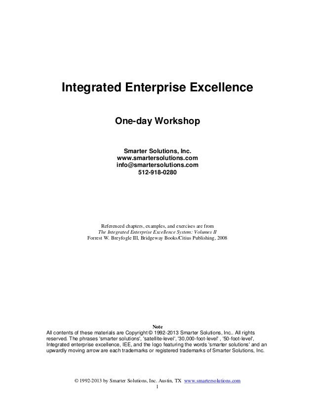 © 1992-2013 by Smarter Solutions, Inc. Austin, TX www.smartersolutions.com1Integrated Enterprise ExcellenceOne-day Worksho...
