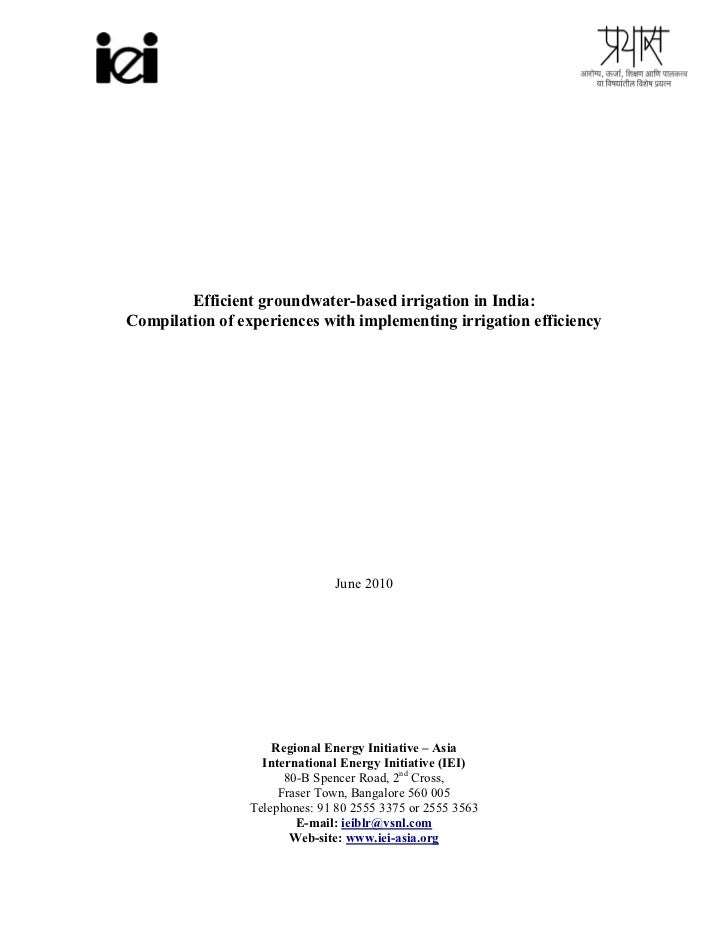 Efficient groundwater-based irrigation in India:Compilation of experiences with implementing irrigation efficiency        ...