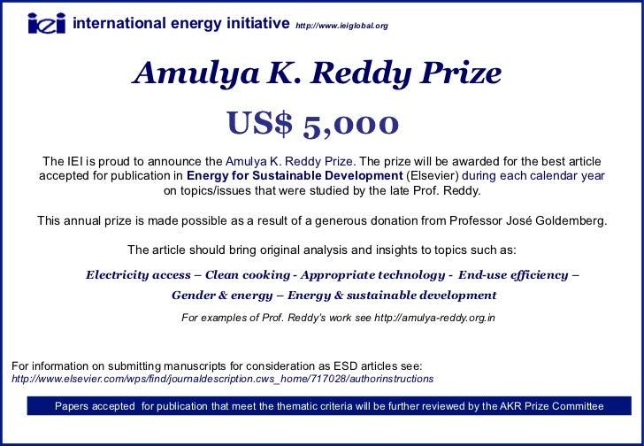 international energy initiative               http://www.ieiglobal.org                        Amulya K. Reddy Prize       ...