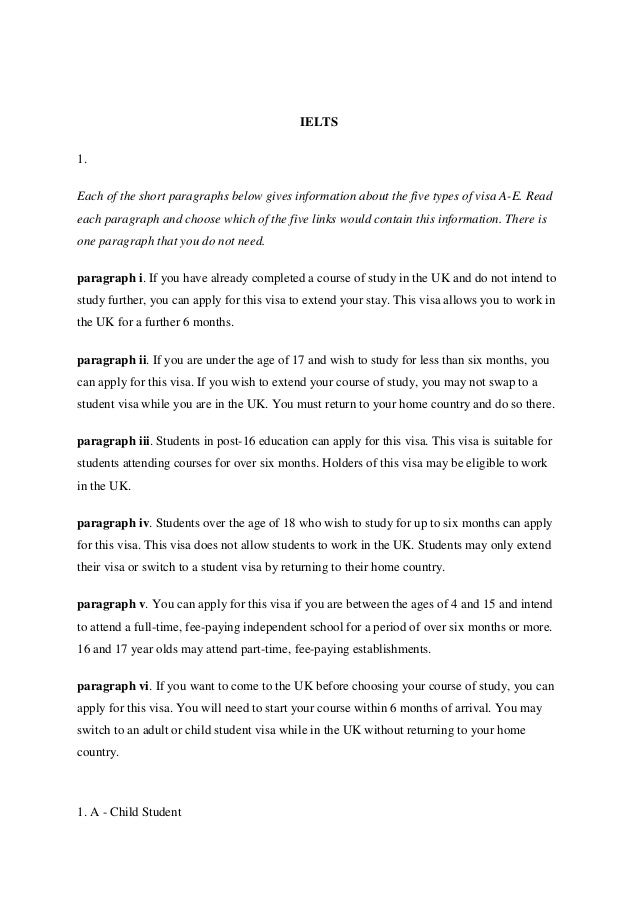 IELTS1.Each of the short paragraphs below gives information about the five types of visa A-E. Readeach paragraph and choos...