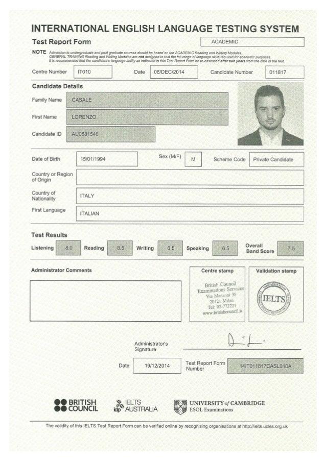 Ielts Certificate Lorenzo Casale