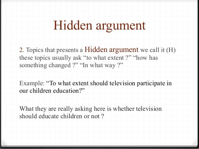 Hidden argument essay