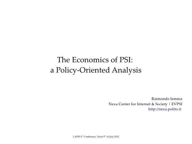 The Economics of PSI:a Policy-Oriented Analysis                                                                 Raimondo I...