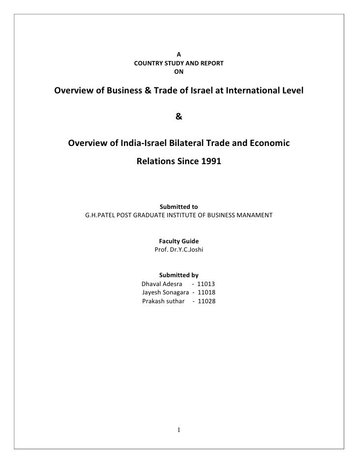 A                     COUNTRY STUDY AND REPORT                                ONOverview of Business & Trade of Israel at ...