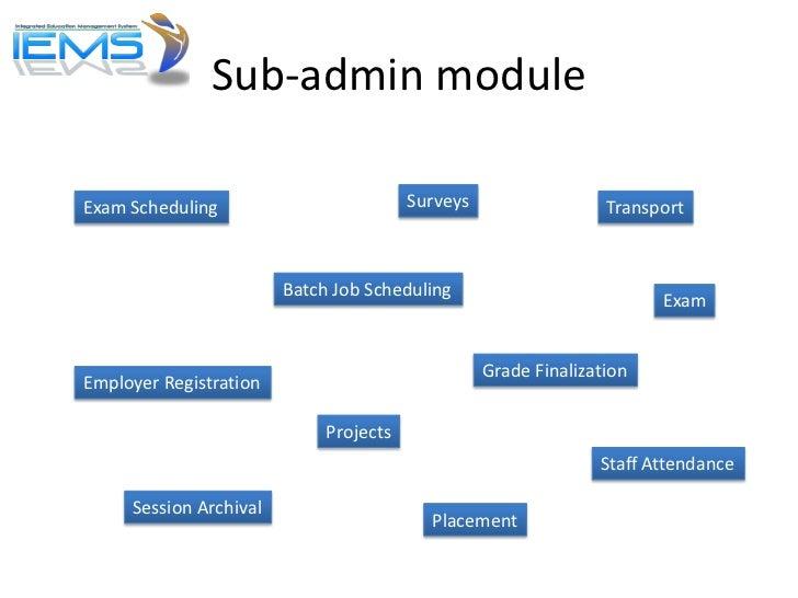 Sub-admin moduleExam Scheduling                         Surveys                  Transport                        Batch Jo...